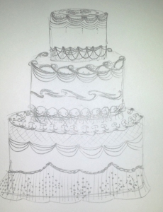 Lambeth Wedding Cake - Sketch